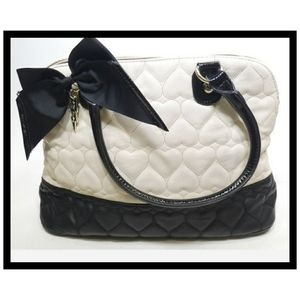 Betsey Johnson Black & White Quilted Heart Purse